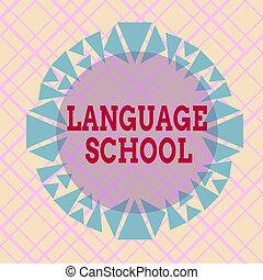 school., showcasing, formé, modèle, photo, design., langue, ...