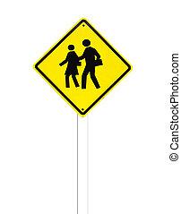 (school, sign), σήμα , παραγγελία , κυκλοφορία , φόντο , άσπρο