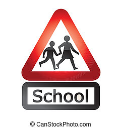 school signal - a warning signal of silhouettes going to ...