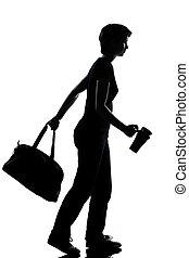 school, silhouette, wandelende, jonge, tiener, meisje, een
