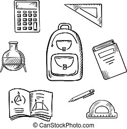 School sketch icons with education supplies