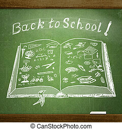 school  sketches on blackboard