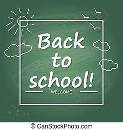 school, spandoek, poster, back, cover., ontwerp, mal, of