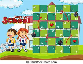 school, spel, back, mal, plank
