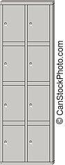 Vector illustration metal school sport locker. Gym locker. Locker door. Deposit locker