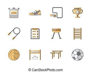 School sports equipment flat color vector icons
