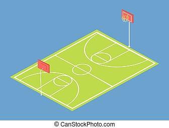 School Stadium 3 Dimensional Vector Illustration