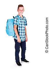 School Starts Tomorrow - Student in blue shirt and rucksack...