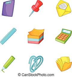 School stationery icons set, cartoon style