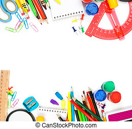stationery - School stationery isolated over white ...