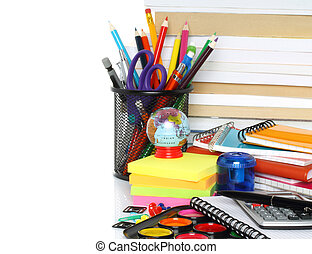 School stationery on white background