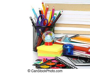 School stationery on white background