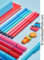 School stationery spread out on the table.