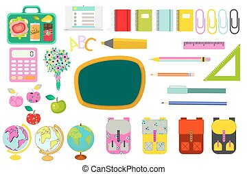 School stationery supplies vector clip art objects.