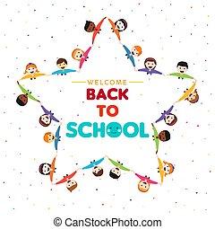 school, ster, back, vorm, groep, kinderen, kaart