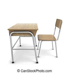 school, stoel, bureau