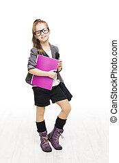 school student, book., holdingskind, schoolgirl, meisje, bril