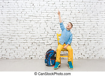 School student boy has an idea