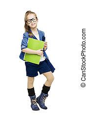 school student, glsses, book., holdingskind, schoolgirl, meisje