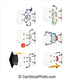 School student of blank sheet of paper cartoon character with various expressions