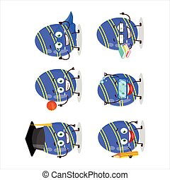 School student of blue easter egg cartoon character with various expressions