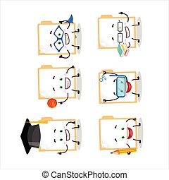 School student of brown manila folder cartoon character with...