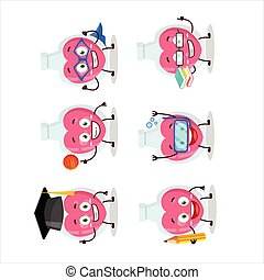 School student of love potion cartoon character with various...