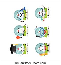 School student of snowball with snowman cartoon character with various expressions