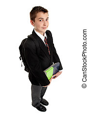 School student with books and backpack