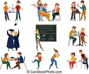 School Students Cartoon Set