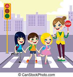School Students Crossing Street - Three cute little children...