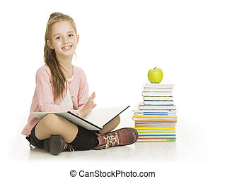 school, studeren, boek, vrijstaand, kind, schoolgirl, girl lezen, witte