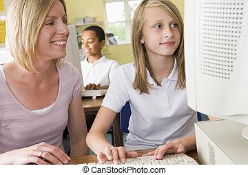 school, studerend , schoolgirl, computer, voorkant, leraar
