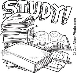 School study sketch - Doodle style school study illustration...