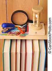 school stuff and books