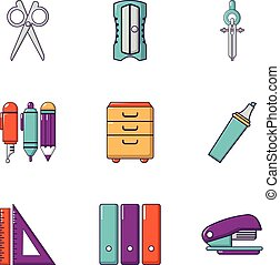 School stuff icons set, flat style