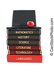 School subjects textbooks like mathematics, history, science, and technology with laptop and apple on a white background