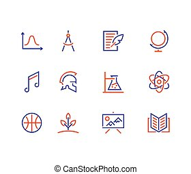 School subjects line icons. Education signs. Physics, math geometry, literature music biology chemistry