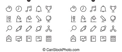 School Subjects Pixel Perfect Well-crafted Vector Thin Line Icons 48x48 Ready for 24x24 Grid for Web Graphics and Apps with Editable Stroke. Simple Minimal Pictogram