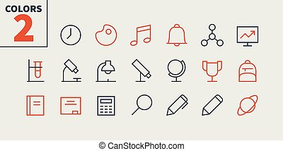 School Subjects Pixel Perfect Well-crafted Vector Thin Line Icons 48x48 Ready for 24x24 Grid for Web Graphics and Apps with Editable Stroke. Simple Minimal Pictogram Part 1