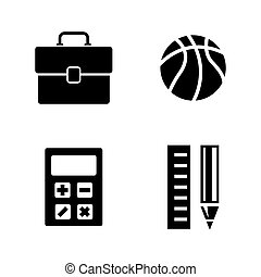 School Subjects. Simple Related Vector Icons