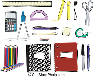 A ruler, calculator, protractor, highlighters, dry erase marker, scissors, mechanical pencil, wooden pencil, pink eraser, sticky notes, tape, colored pencils, composition book, spiral notebook, permanent marker, and a pen.