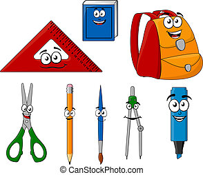 School supplies and objects in cartoon style