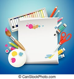 School Supplies art and empty white paper