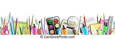 School Supplies Banner Isolated