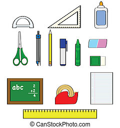 School supplies - Cartoon illustration set showing different...