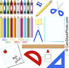 school supplies clip art isolated on white background, in...