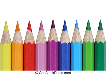 School supplies colored pencils in a row, isolated on a white background