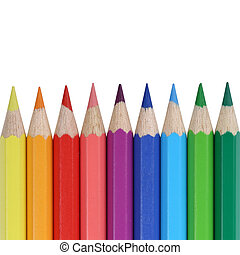 School supplies colored pencils in a row with copyspace, ...