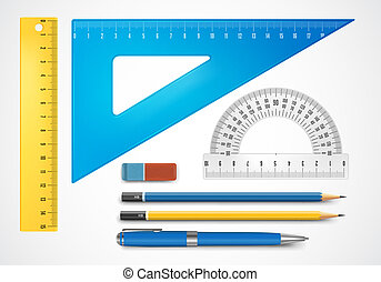 School supplies - Colorful school supplies, vector...